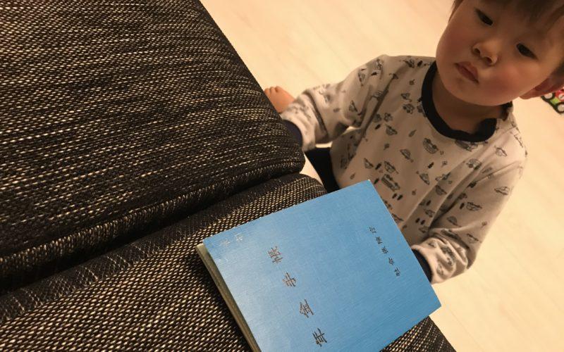 年金手帳を見つめる1歳児