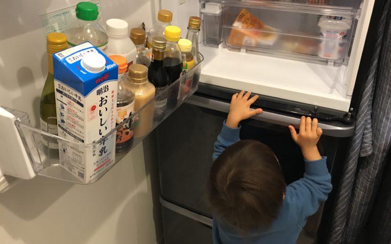 シャープ製の冷蔵庫をのぞきこむ1歳児